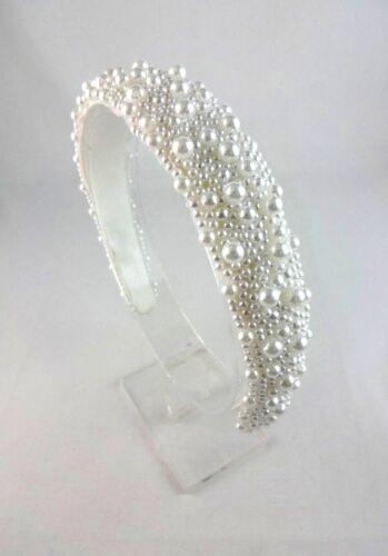 Pearl Bandeau Satin Blanc Doublure Souple Bridal bandeau bandeau