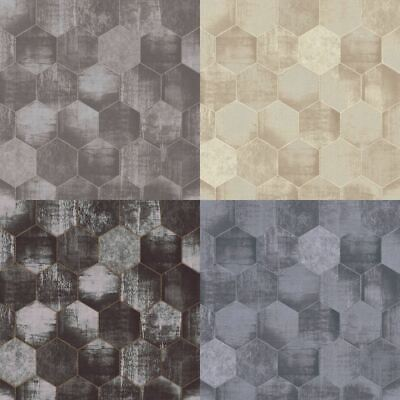 As Creation Metallic Honeycomb Contemporary Geometric Shimmer Wallpaper 363304