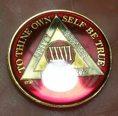 36 Year AA Sobriety Coin Medallion Silver 36th Year XXXVI Black Enamel Gold