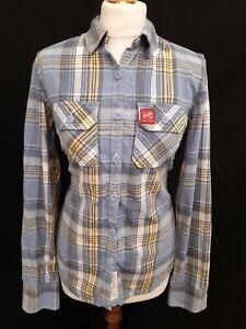 Superdry-Femme-Lumberjack-en-serge-Taille-M-Bleu-Jaune-Coton