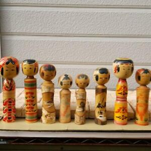 Vintage Kokeshi Japanese Wooden Doll Set of 22