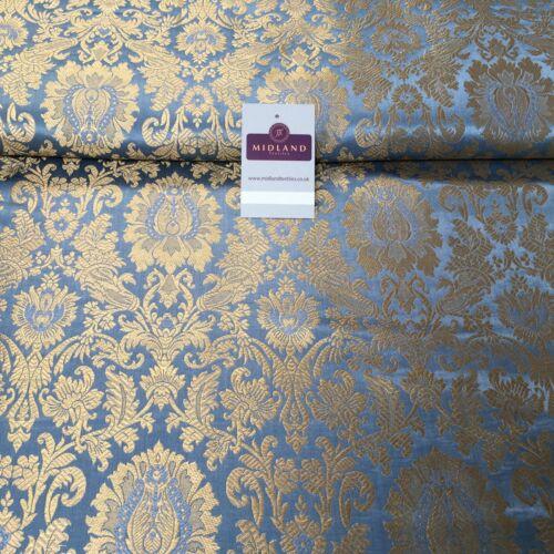 "Gold Indian Floral Metallic Print Banarsi faux Silk Brocade Fabric 40/"" M370 Mtex"