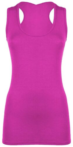 Women Long Racer back Body con Muscle Vest Gym Stretch Girl Women Plain Top 8-26