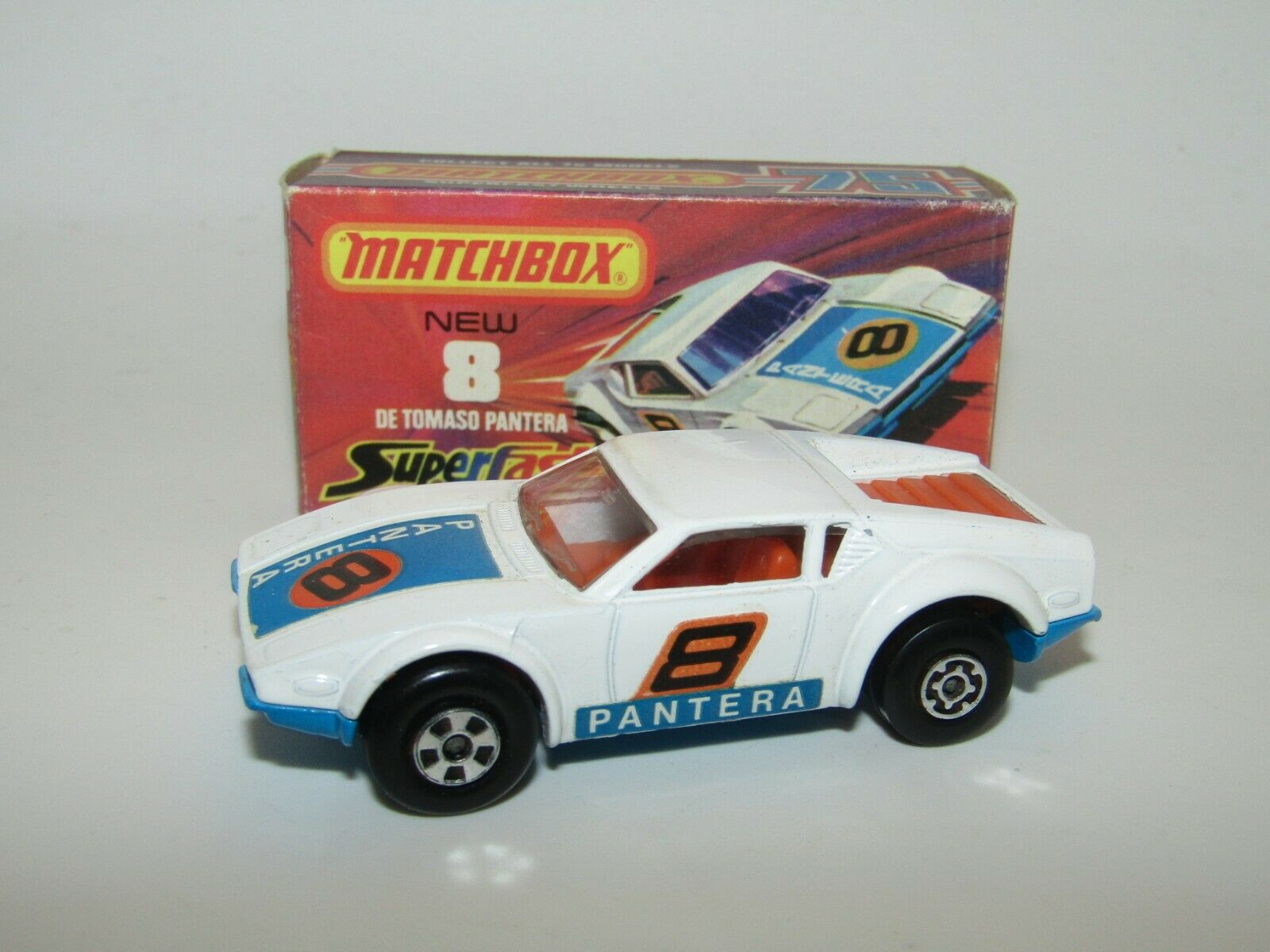 Matchbox Superfast No 8 Pantera REVERSED WHEELS Side Labels NMIB Rare