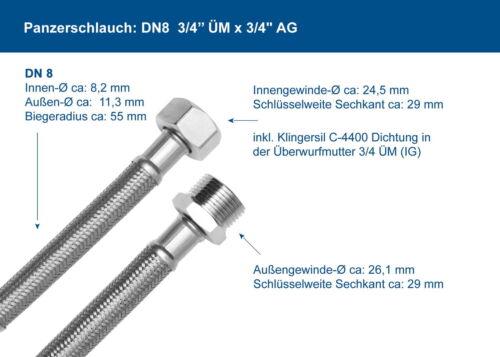 Waschmaschinenschlauch DN8 Edelstahl 3//4 Zoll ÜM x 3//4/'/' AG Panzerschlauch