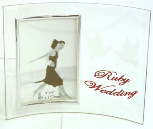 RUBY WEDDING GLASS PHOTO FRAME ANNIVERSARY RUBY HUSBAND WIFE GIFT AWARD B2