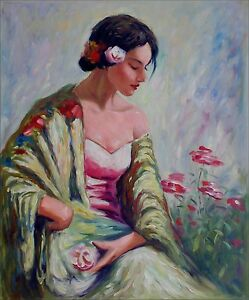 Quality-Hand-Painted-Oil-Painting-Seated-Lady-with-Flowers-20x24in