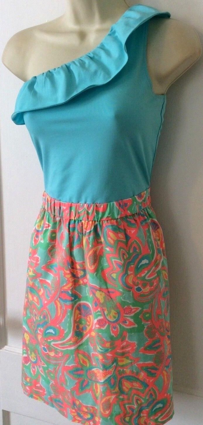 NEW  168 Sz S Lilly Pulitzer Dionne  Make A Splash  Paisley One Shoulder Dress