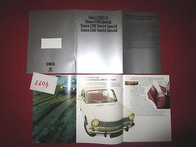 N°4073 / Catalogue Simca 1301 Et 1501 Nederland Text 1970 Environ Vloeiende Circulatie En Pijn Stoppen