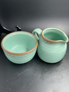 Noritake Boulder Ridge Stoneware~Creamer and Sugar Bowl Set~