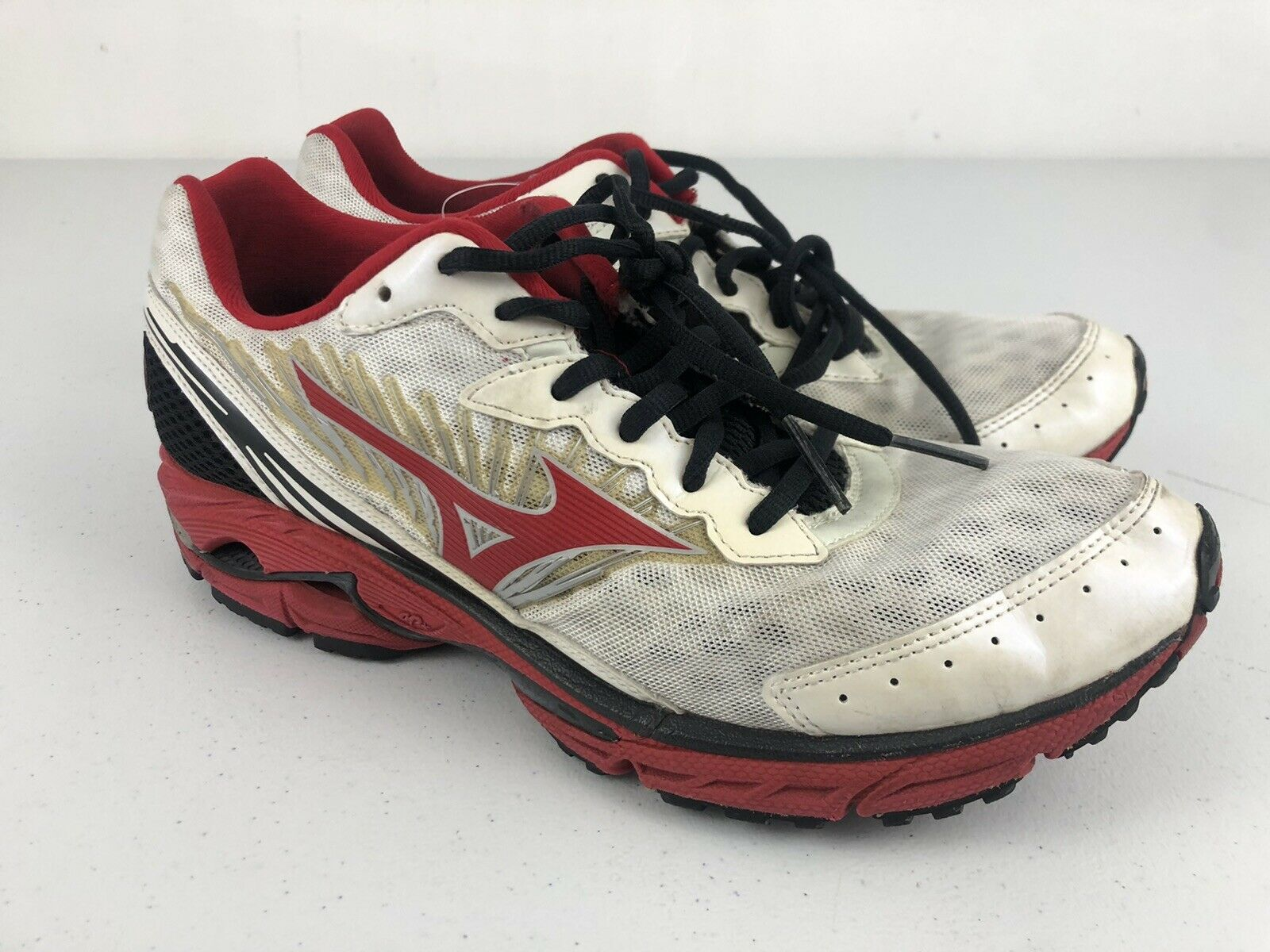 Mizuno Wave Rider 16 Men's Size 9 Athletic Running Shoes Sneakers White/Red