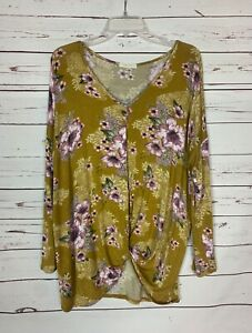 Entro-Boutique-Women-039-s-M-Medium-Purple-Floral-Long-Sleeve-Fall-Tunic-Top-Shirt