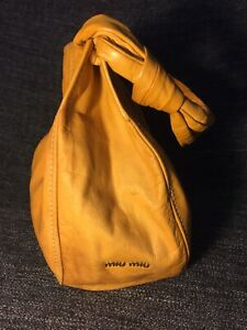 31e4971632a9 Authentic MIU MIU by PRADA large Mustard Yellow Leather Shoulder ...