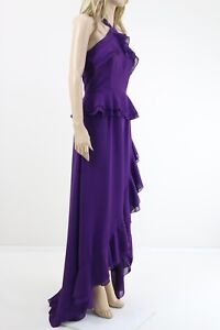 True-Decadence-Women-039-s-Purple-Halterneck-Ruffle-Maxi-Cocktail-Dress-UK-SIZE-10