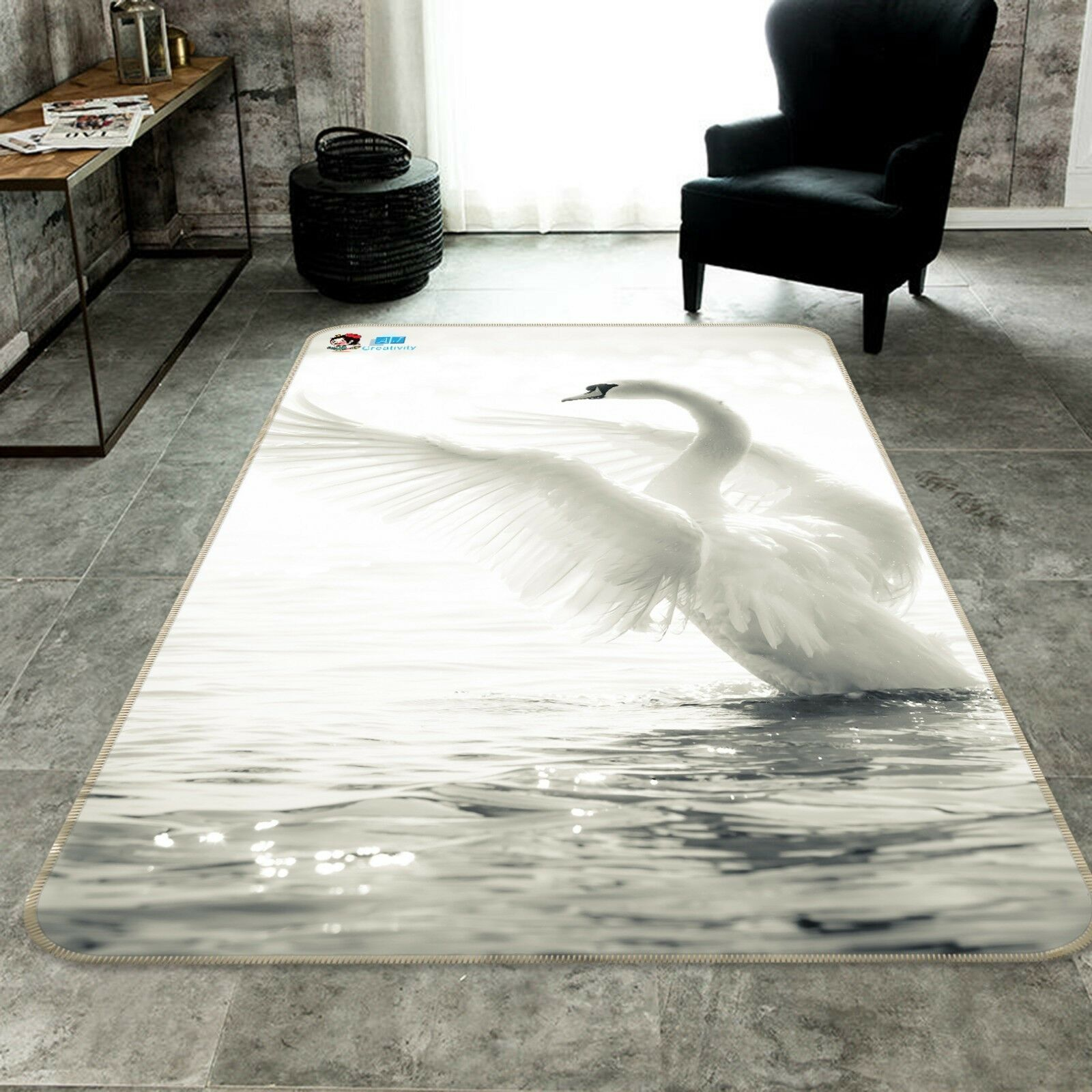 3D Sea bianca Swan 107 Non Slip Rug Mat Room Mat Quality Elegant Photo Carpet AU