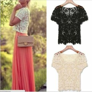 New-Womens-Hand-made-Crochet-Knit-Lace-Flower-Hollow-Out-Outer-Shirt-Top-Blouse