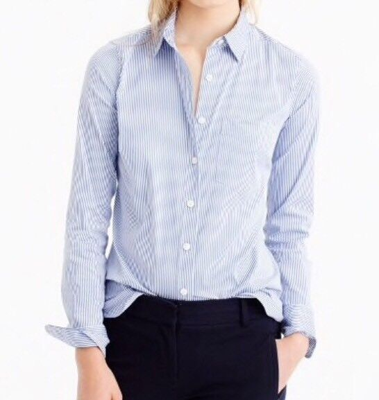 NEW Thomas Mason® for J.Crew  stretch shirt in stripe Sz10 Blau E1769