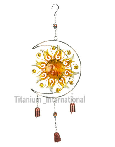 DECORAZIONI per Giardino Solare Da Appendere Sole con campanelli da esterno Metallo Vetro Solare Luce Giardino