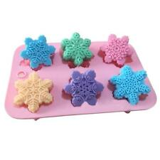6-snowflake Chocolate Molds Soap Silicone Ice Tray Cake Jelly Christmas Mould