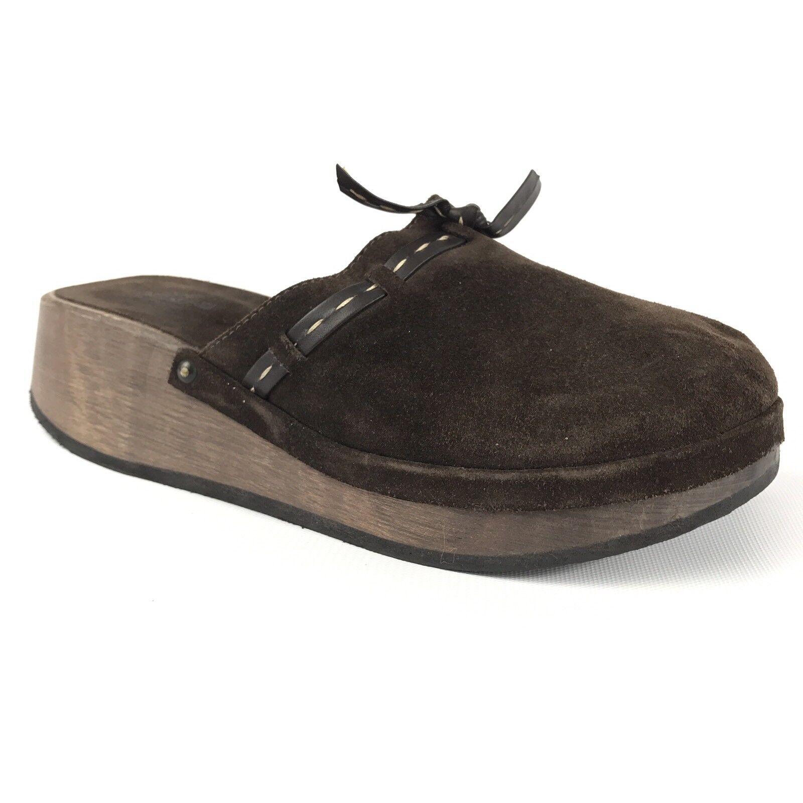 J Crew Women Clogs 8 Dark Brown Suede Suede Brown Leather Rubber Low Heel Walking Slip Italy 87ef7a