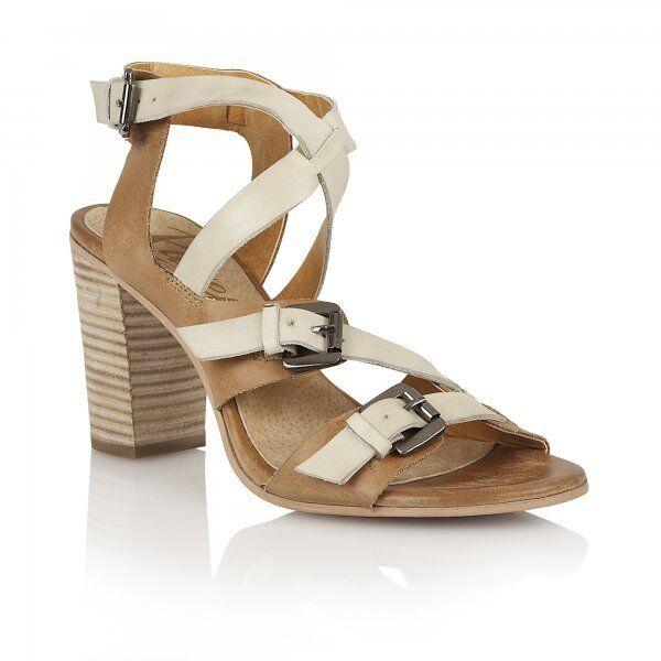 Ravel Bunnell Femmes UK 5 & 6 tan & off blanc talon haut cuir sandales à lanières