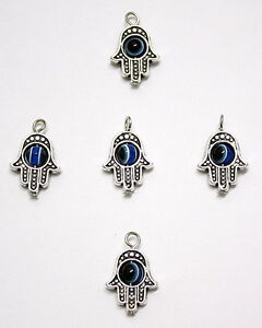 5 X Jewellery Making Craft Gold Star Of David Pendant Charm Evil Eye 13mm Hamsa