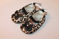 Koala Baby Infant Girl Size 2 Brown & Black Leopard Print Shoes W/ Butterfly