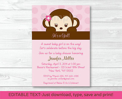 Girl Monkey Printable Baby Shower Invitation Editable PDF
