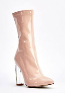 a3403ea6d8b 40 BEBO NUDE PATENT HIGH PERSPEX HEEL SLIM LEG SEXY ANKLE BOOTS SIZE ...