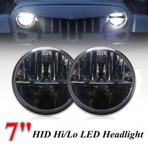 2x-7-039-039-Pouces-Moto-LED-Hi-Lo-Phares-Phare-avant-Projecteur-Pour-Jeep-Wrangler-JK