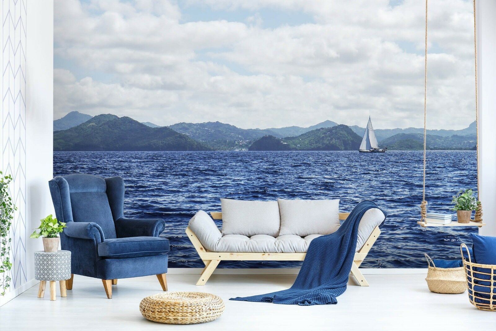 3D Sea Sailboat 7079 Wall Paper Murals Wall Print Wall Wallpaper Mural AU Summer