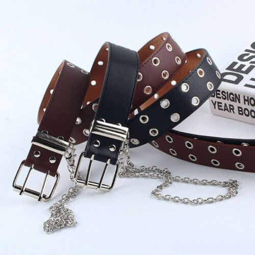 Women Punk Chain Belt Adjustable Black Double//Single Eyelet Leather Buc WY