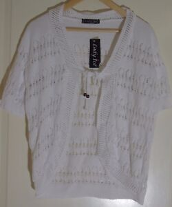 Lady-Ice-White-Cardigan-with-Pattern-Size-UK-L-XL