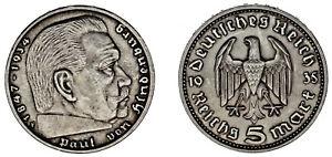 5-REICHSMARK-GERMANY-5-MARCOS-ALEMANIA-HINDENBURG-STUTTGART-1934-XF-EBC