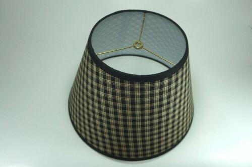 Primitive Country Black Sturbridge Plaid Homespun Fabric Washer Top Lamp Shade