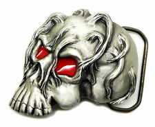 Skull Belt Buckle 3D Red Eyes Gothic Horror Authentic Great American Products
