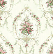 Tapete, Designtapete, floral, Ornamente, Medaillon, Speckstein, Koralle, Grün