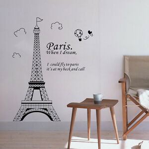 Image Is Loading 3D Paris Eiffel Tower Vinyl Art Decal Mural