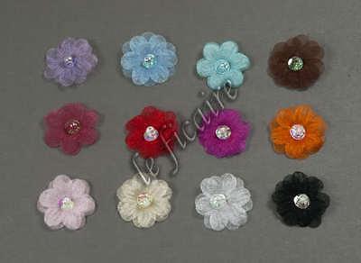 """U PICK COLOR~ 1"""" Double Layer Organza Daisy Flower Appliques Trims x60 pcs #1581"""