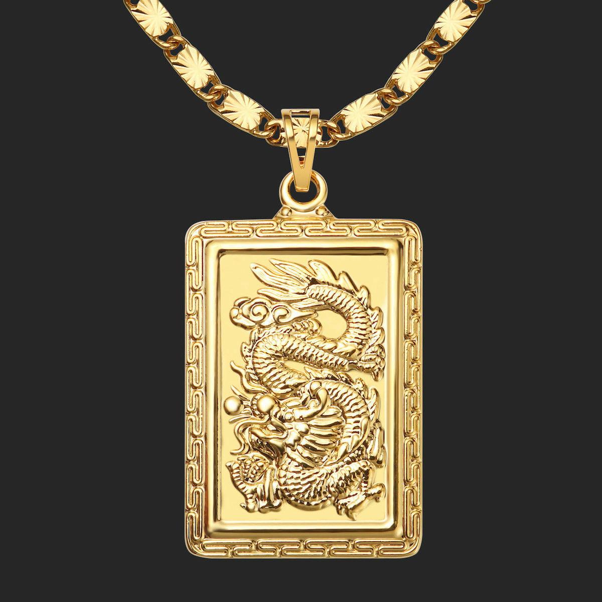 1756f177a4 Herren GoldKette mit Drache Anhänger Halskette 24K 999er Gold Vergoldet 60cm