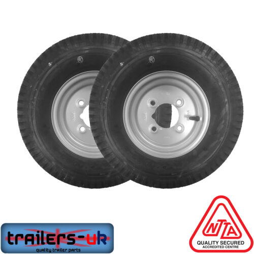 """*Next Day Delivery* Pair of 480//400 X 8/"""" Trailer Wheels with High Speed Tyres"""