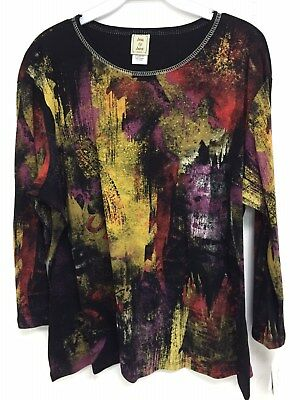 Jess and Jane Bali Multi-Color Floral Shirt Size Made in USA New with Tags