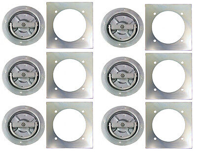 6 - Recessed Full 360 Swivel 6000 Rated D Ring Tie Down w/ Backing Plate Trailer