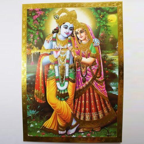 Krishna Prägedruck Indien Hinduismus  Bild Guru Om Puja 14 Altarbild Radha