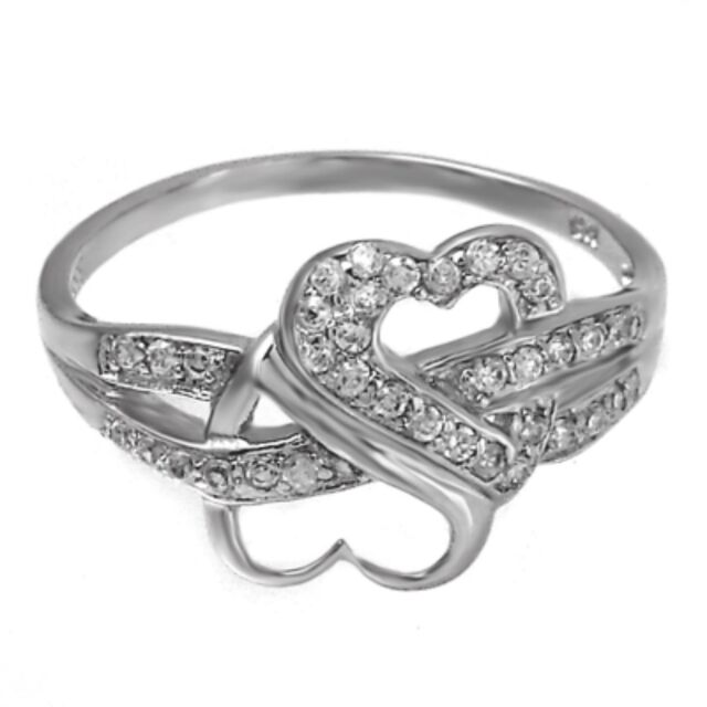Sterling Silver Infinity Heart ring CZ Round cut Love Knot size 4-11 New Promise