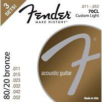 Fender 70cl 80/20 Bronze Acoustic Guitar Strings 3-pack Custom Light Guage 11-52