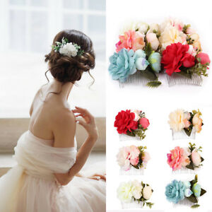 Vintage-Women-Wedding-Bridal-Flower-Floral-Hair-Pins-Bridesmaid-Clips-Side-Comb