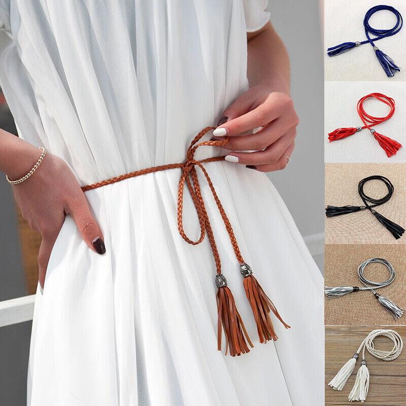 Womens Thin Skinny Waist Rope Belt Tassel Braided Self Tie Dress Waistband