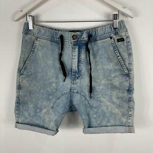 Industrie-Mens-Shorts-32-Blue-Denim-Elastic-Waist-Drawstring