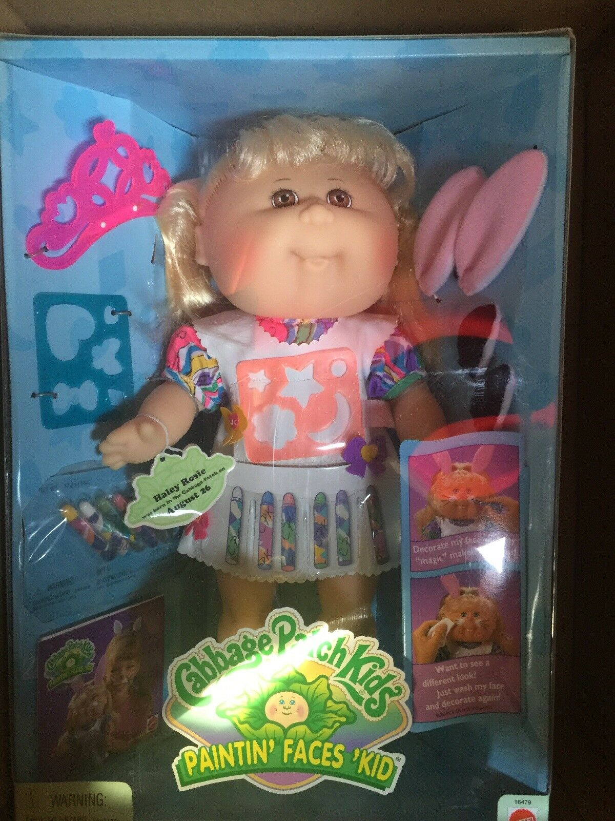 Vinatge Cabbage Patch Kids Paintin Faces Kid 1996 New  In Box Blonde